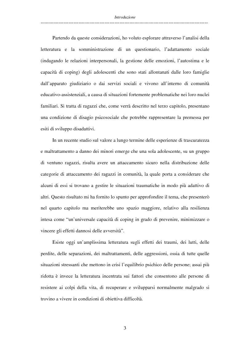 Anteprima della tesi: Adolescenti allontanati dalla famiglia: tra disagio e capacità di ''resilienza'', Pagina 3