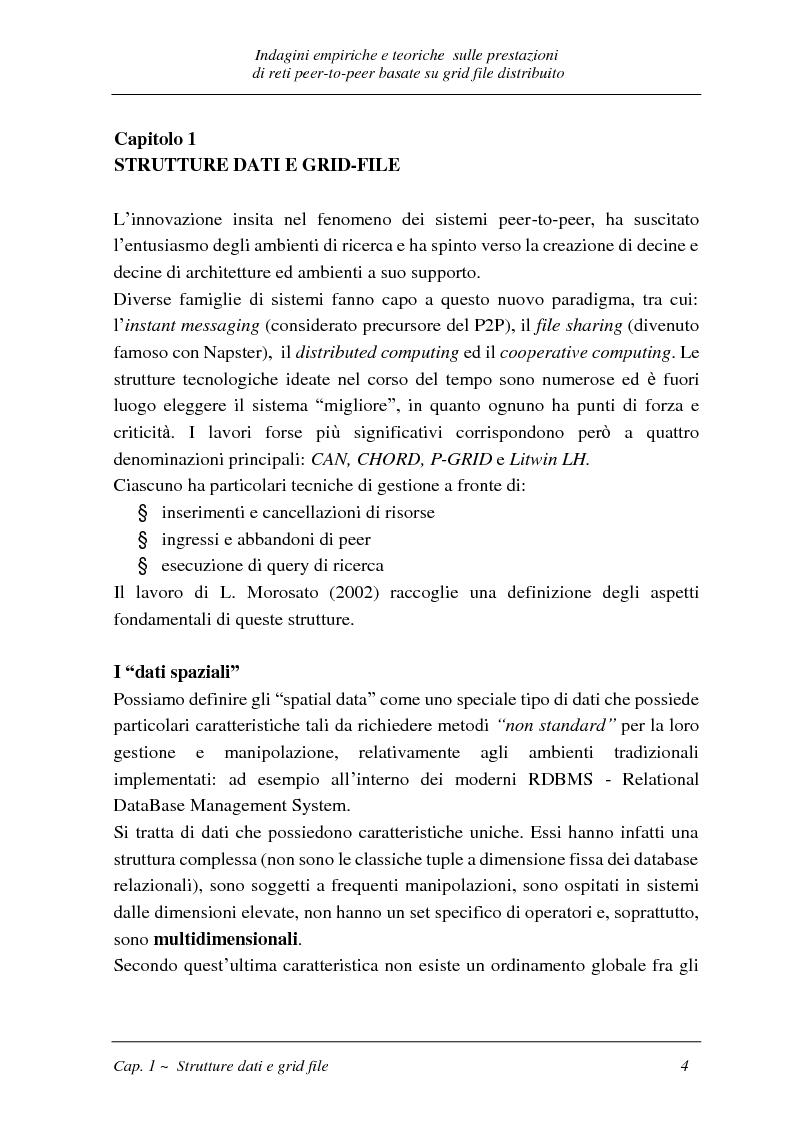 Anteprima della tesi: Indagini empiriche e teoriche sulle prestazioni di reti peer-to-peer basate su grid-file distribuito, Pagina 3