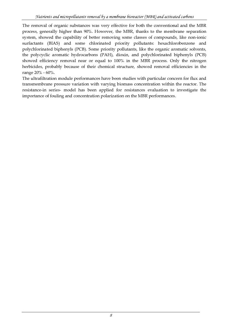 Anteprima della tesi: Rimozione di nutrienti e microinquinanti attraverso un processo a fanghi attivi assistito da membrana e carboni attivi, Pagina 3