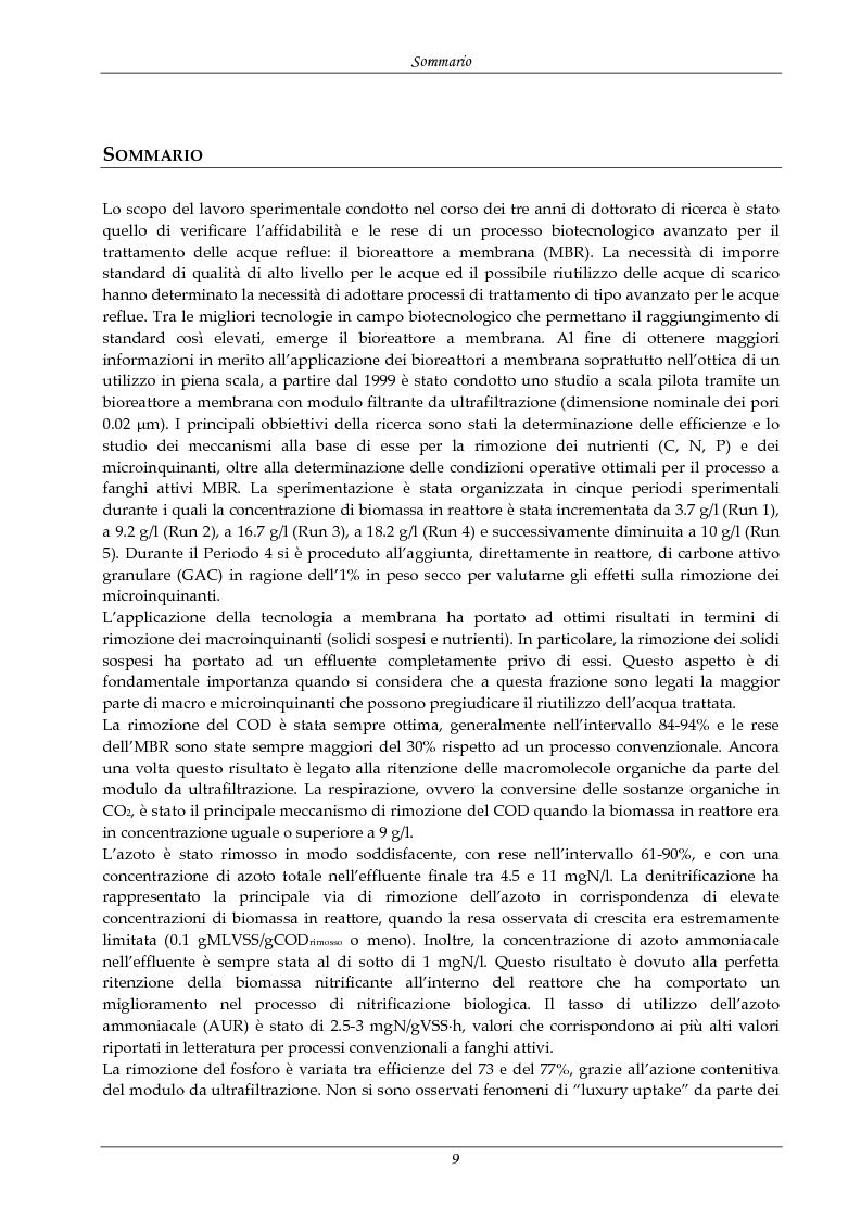 Anteprima della tesi: Rimozione di nutrienti e microinquinanti attraverso un processo a fanghi attivi assistito da membrana e carboni attivi, Pagina 4