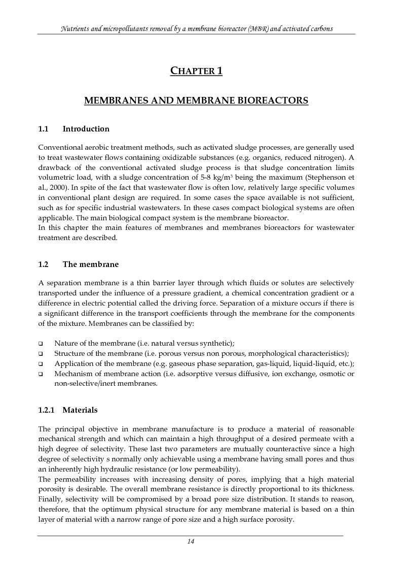 Anteprima della tesi: Rimozione di nutrienti e microinquinanti attraverso un processo a fanghi attivi assistito da membrana e carboni attivi, Pagina 9