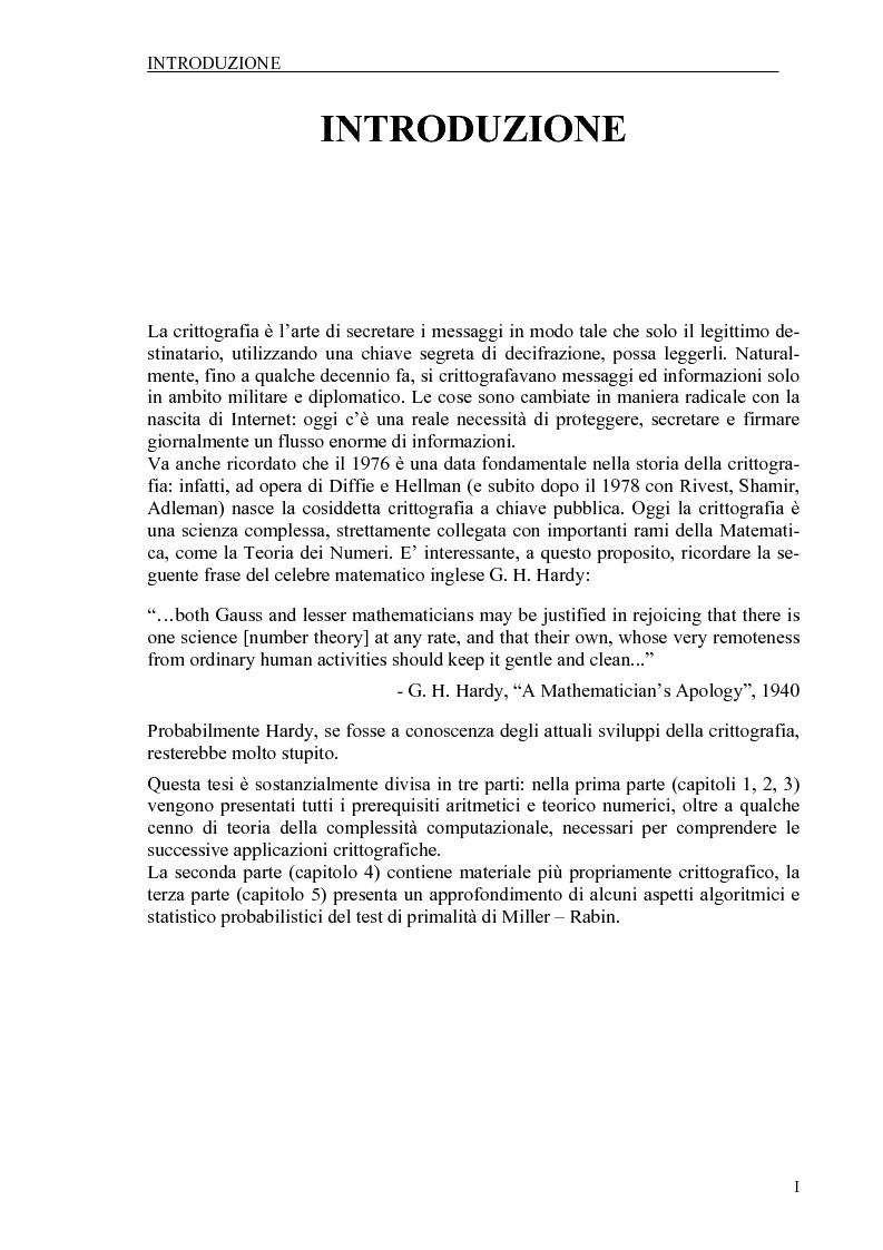 Anteprima della tesi: Il test di primalità di Miller-Rabin e il metodo crittografico di ElGamal, Pagina 1