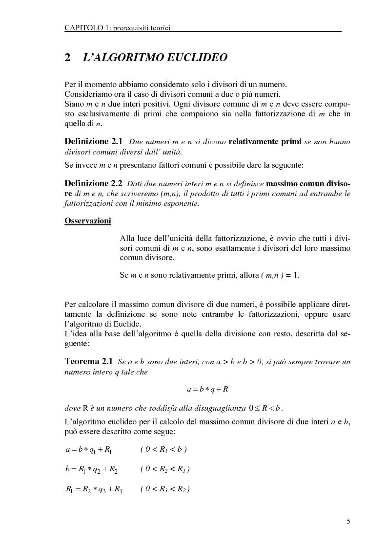 Anteprima della tesi: Il test di primalità di Miller-Rabin e il metodo crittografico di ElGamal, Pagina 5
