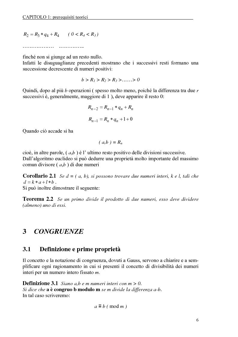 Anteprima della tesi: Il test di primalità di Miller-Rabin e il metodo crittografico di ElGamal, Pagina 6