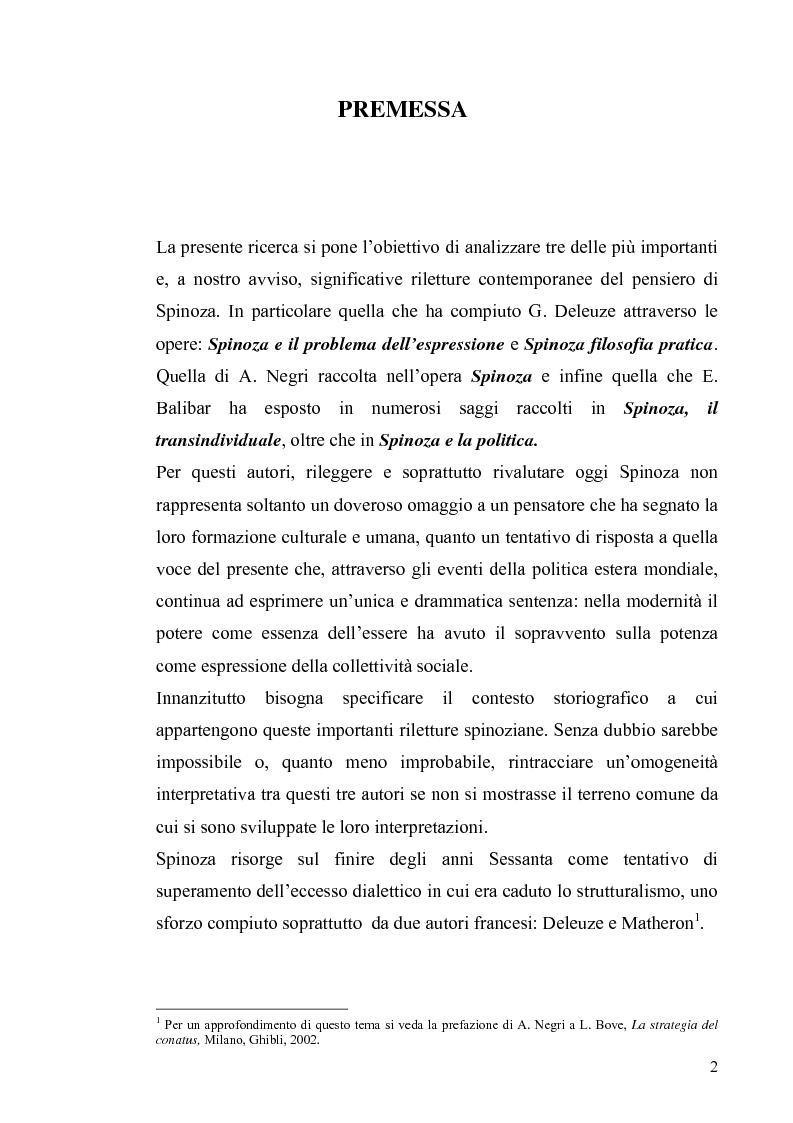 Anteprima della tesi: Tre riletture del pensiero di Spinoza nella filosofia contemporanea: G. Deleuze, A. Negri, E. Balibar, Pagina 1