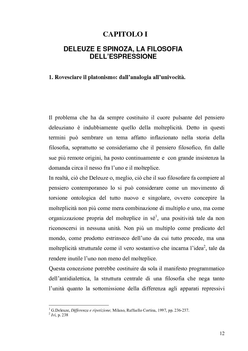 Anteprima della tesi: Tre riletture del pensiero di Spinoza nella filosofia contemporanea: G. Deleuze, A. Negri, E. Balibar, Pagina 11