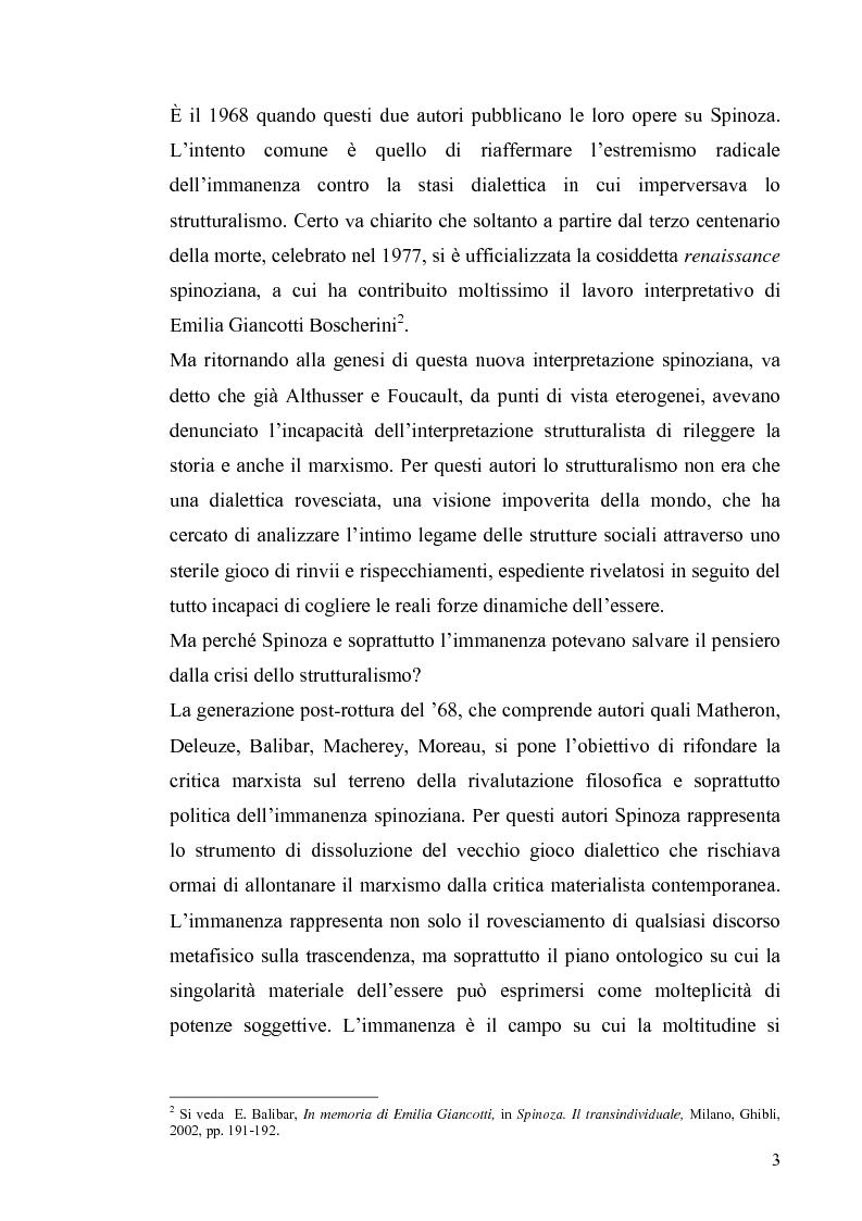 Anteprima della tesi: Tre riletture del pensiero di Spinoza nella filosofia contemporanea: G. Deleuze, A. Negri, E. Balibar, Pagina 2