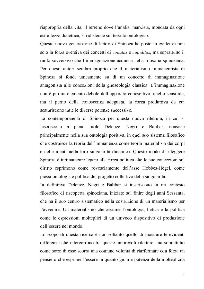Anteprima della tesi: Tre riletture del pensiero di Spinoza nella filosofia contemporanea: G. Deleuze, A. Negri, E. Balibar, Pagina 3