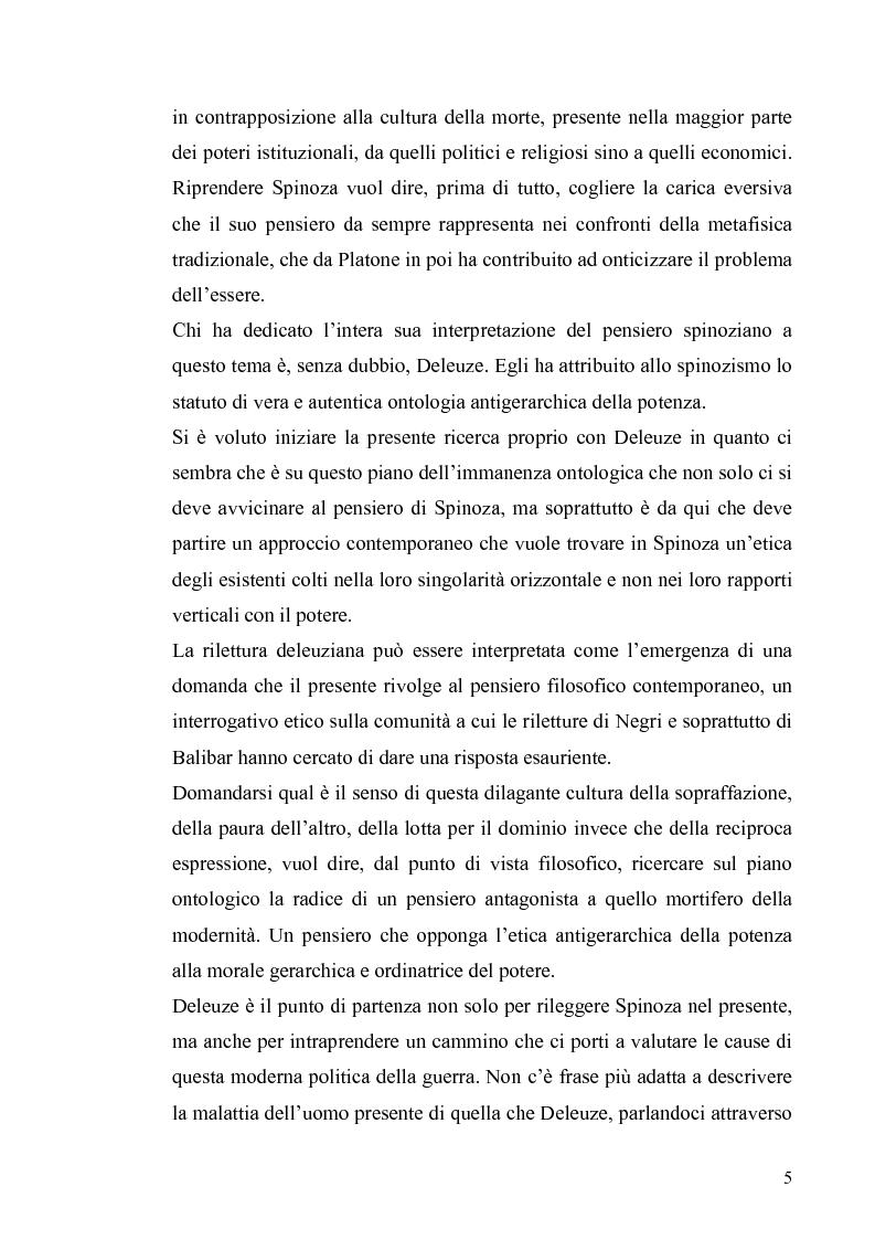 Anteprima della tesi: Tre riletture del pensiero di Spinoza nella filosofia contemporanea: G. Deleuze, A. Negri, E. Balibar, Pagina 4