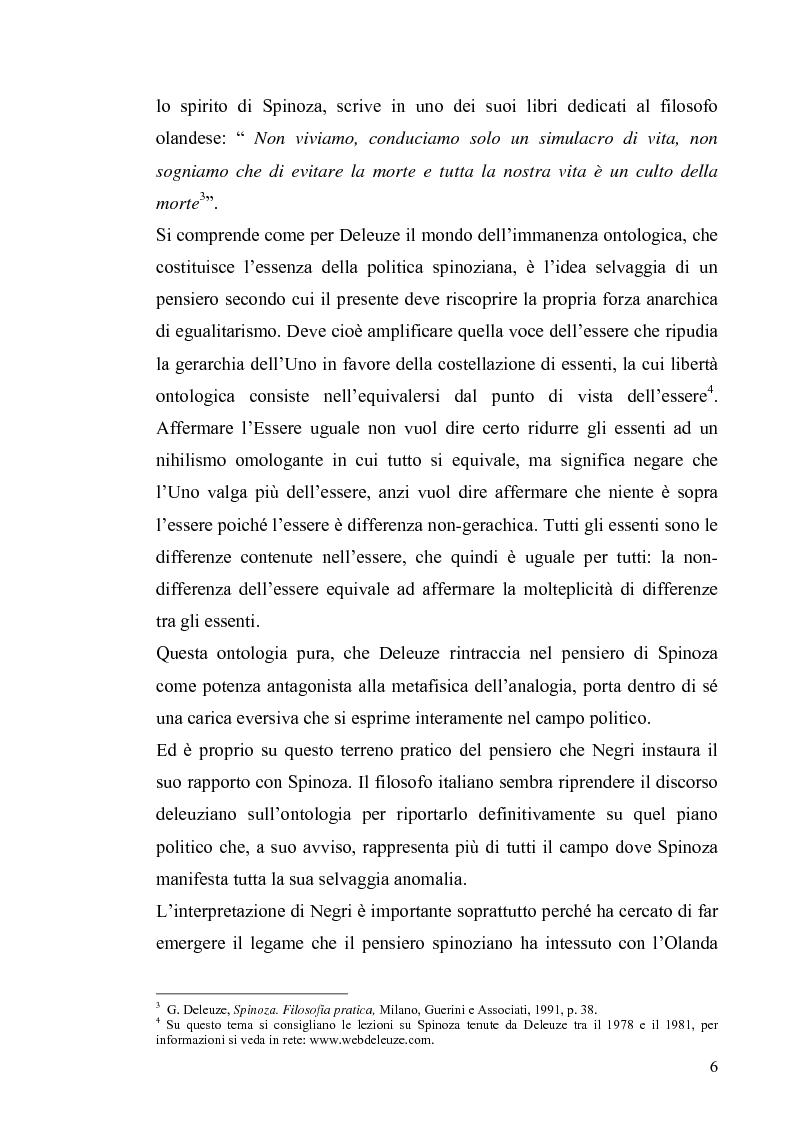 Anteprima della tesi: Tre riletture del pensiero di Spinoza nella filosofia contemporanea: G. Deleuze, A. Negri, E. Balibar, Pagina 5