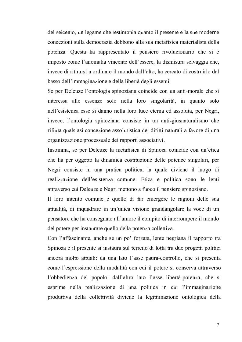 Anteprima della tesi: Tre riletture del pensiero di Spinoza nella filosofia contemporanea: G. Deleuze, A. Negri, E. Balibar, Pagina 6