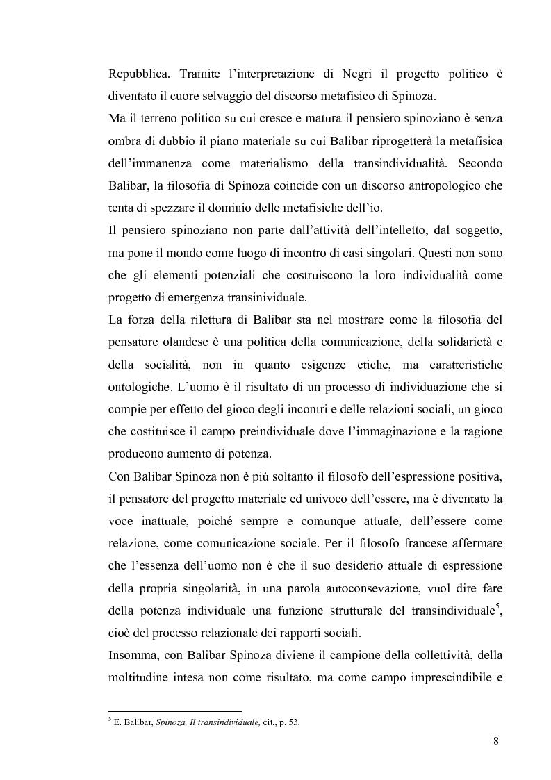 Anteprima della tesi: Tre riletture del pensiero di Spinoza nella filosofia contemporanea: G. Deleuze, A. Negri, E. Balibar, Pagina 7