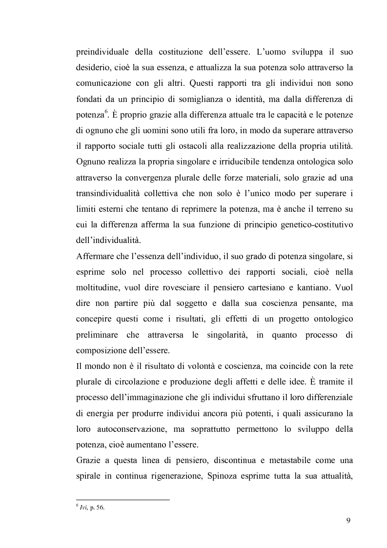 Anteprima della tesi: Tre riletture del pensiero di Spinoza nella filosofia contemporanea: G. Deleuze, A. Negri, E. Balibar, Pagina 8