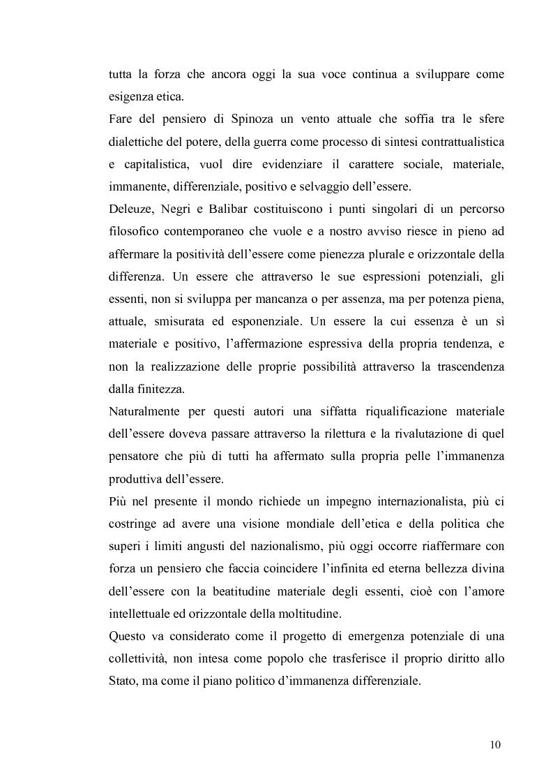 Anteprima della tesi: Tre riletture del pensiero di Spinoza nella filosofia contemporanea: G. Deleuze, A. Negri, E. Balibar, Pagina 9