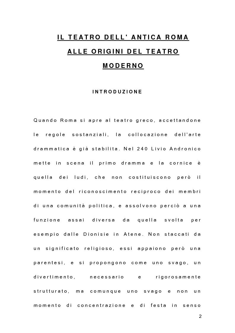 Anteprima della tesi: Il teatro dell'antica Roma alle origini del teatro moderno, Pagina 1