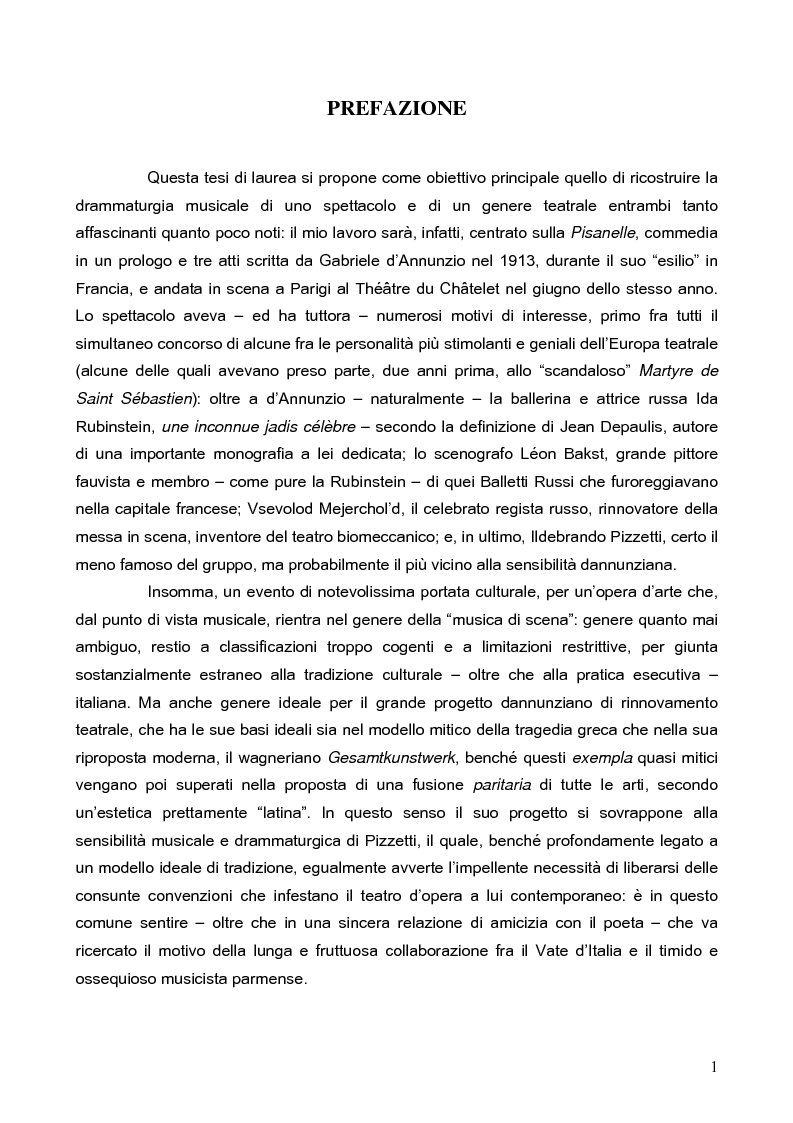 """Anteprima della tesi: """"La tragédienne du silence"""". Ida Rubinstein e le musiche di scena per """"La Pisanelle"""" di Gabriele d'Annunzio, Pagina 1"""