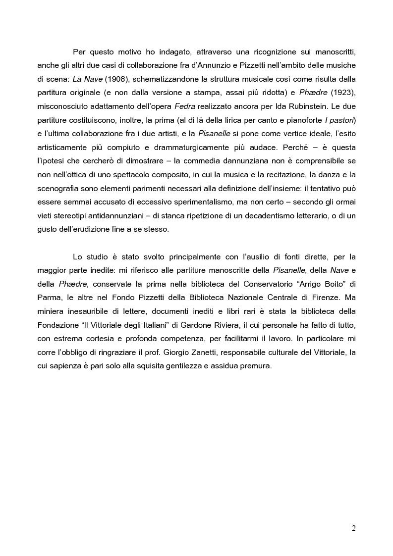 """Anteprima della tesi: """"La tragédienne du silence"""". Ida Rubinstein e le musiche di scena per """"La Pisanelle"""" di Gabriele d'Annunzio, Pagina 2"""