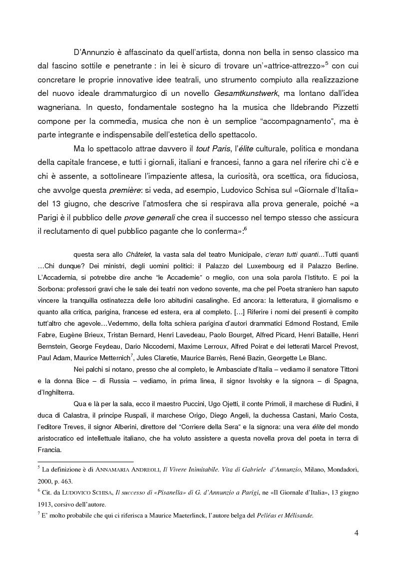 """Anteprima della tesi: """"La tragédienne du silence"""". Ida Rubinstein e le musiche di scena per """"La Pisanelle"""" di Gabriele d'Annunzio, Pagina 4"""