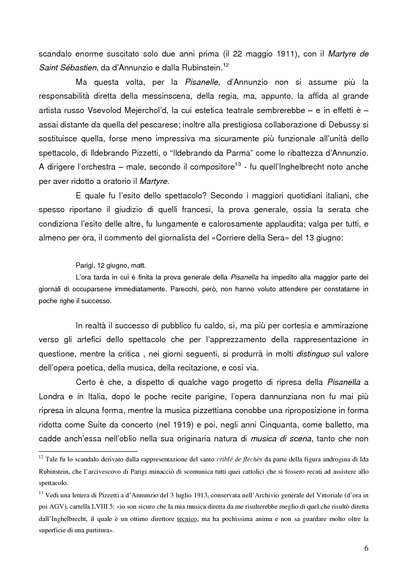 """Anteprima della tesi: """"La tragédienne du silence"""". Ida Rubinstein e le musiche di scena per """"La Pisanelle"""" di Gabriele d'Annunzio, Pagina 6"""