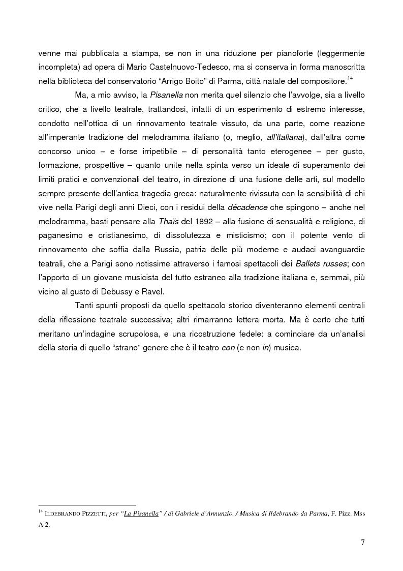 """Anteprima della tesi: """"La tragédienne du silence"""". Ida Rubinstein e le musiche di scena per """"La Pisanelle"""" di Gabriele d'Annunzio, Pagina 7"""