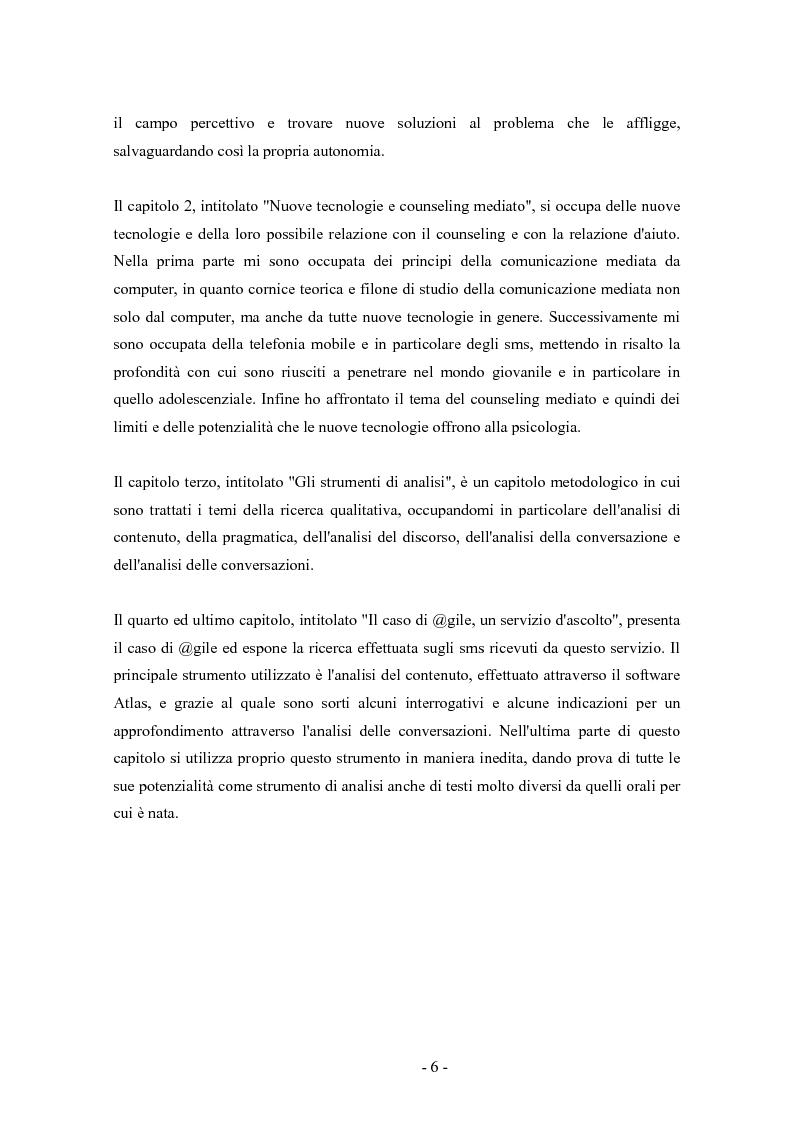 Anteprima della tesi: SMS e relazione d'aiuto: il caso di @gile, un servizio d'ascolto, Pagina 2