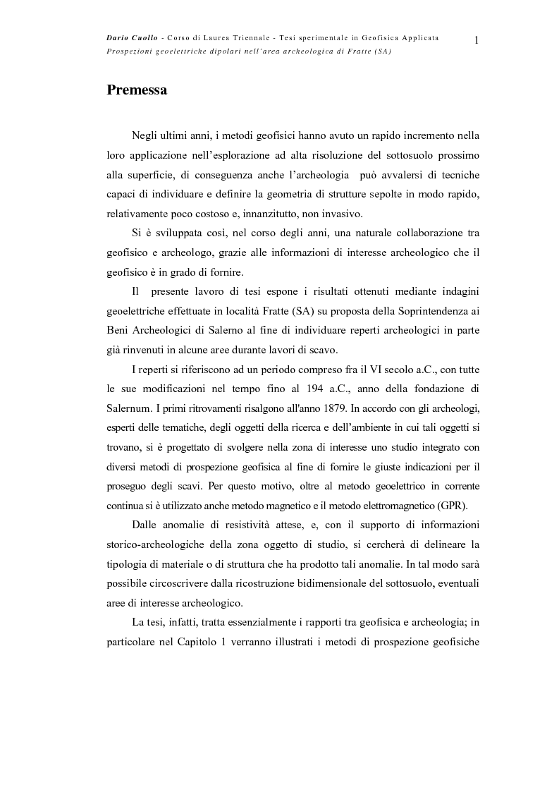 Anteprima della tesi: Prospezioni geoelettriche dipolari nell'area archeologica di Fratte (SA), Pagina 1
