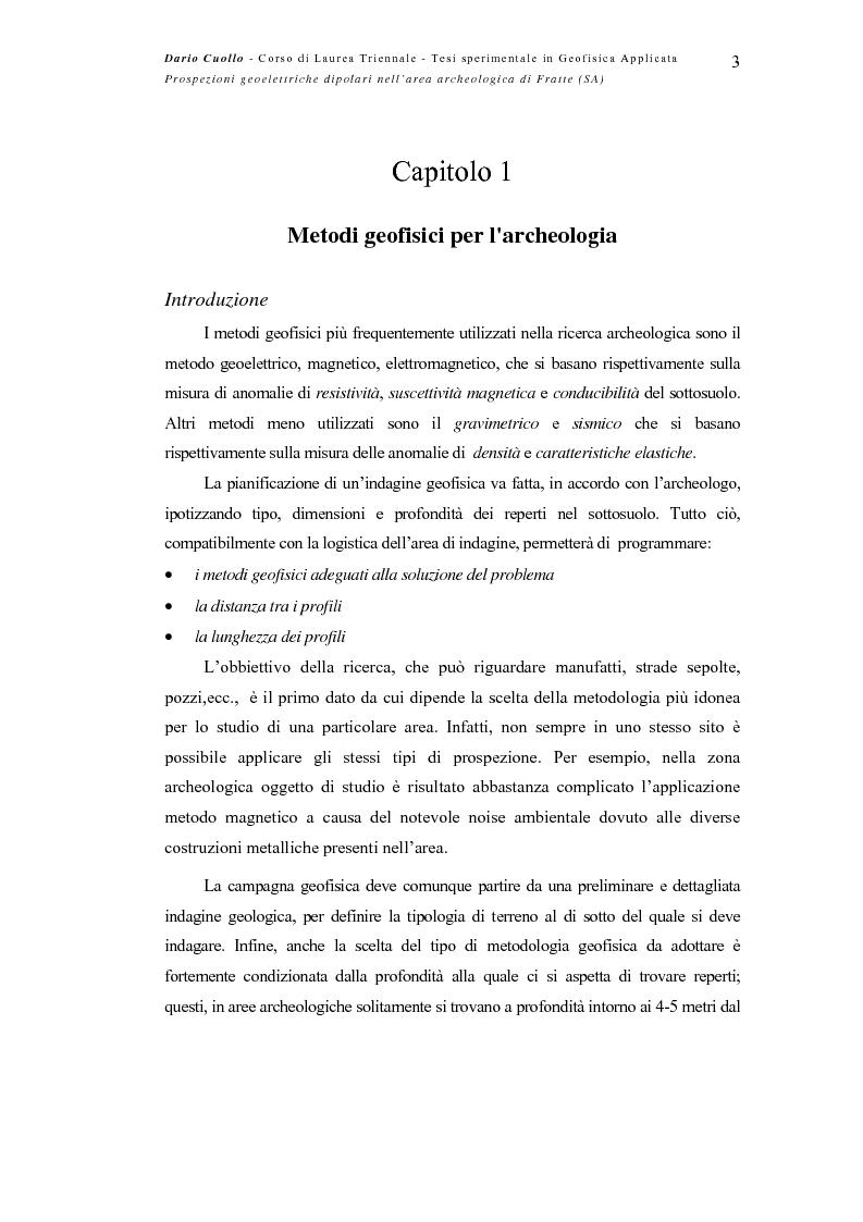 Anteprima della tesi: Prospezioni geoelettriche dipolari nell'area archeologica di Fratte (SA), Pagina 3
