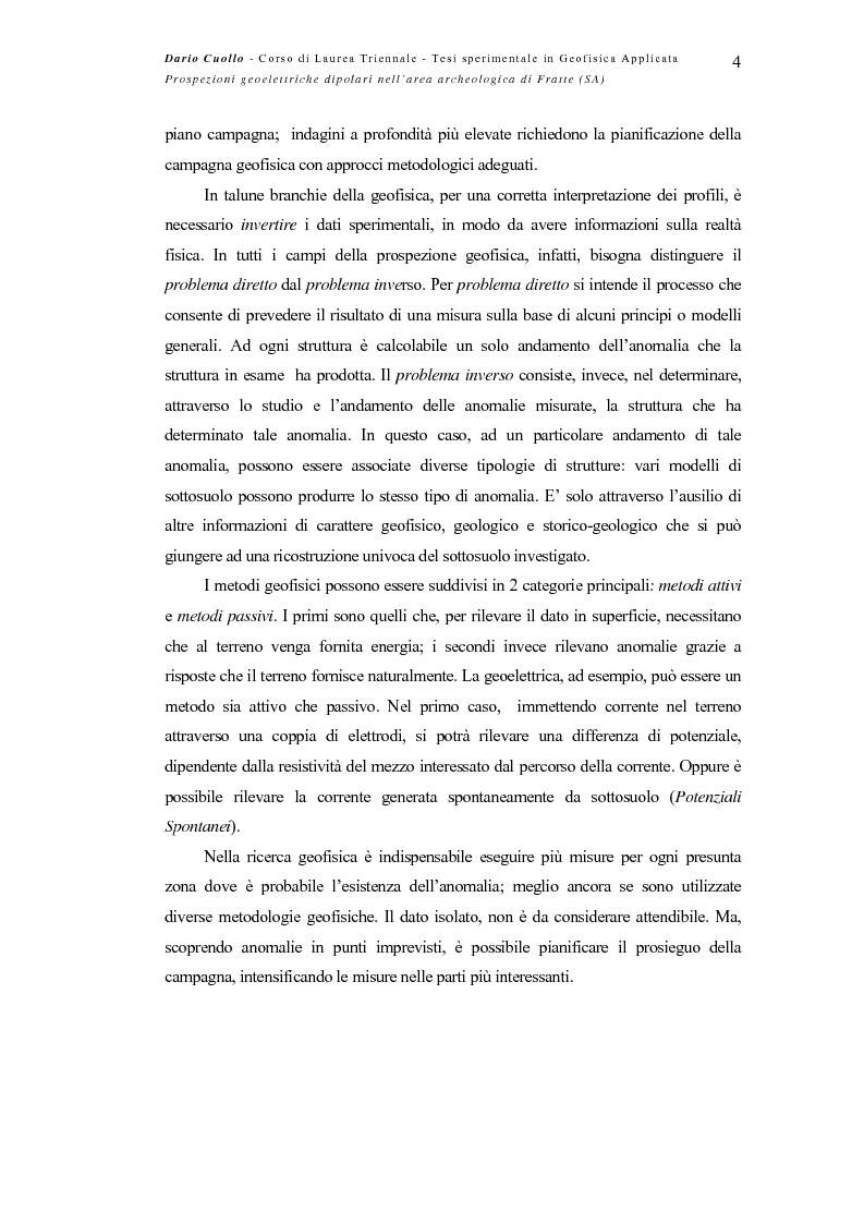 Anteprima della tesi: Prospezioni geoelettriche dipolari nell'area archeologica di Fratte (SA), Pagina 4