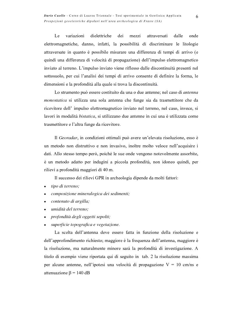 Anteprima della tesi: Prospezioni geoelettriche dipolari nell'area archeologica di Fratte (SA), Pagina 6