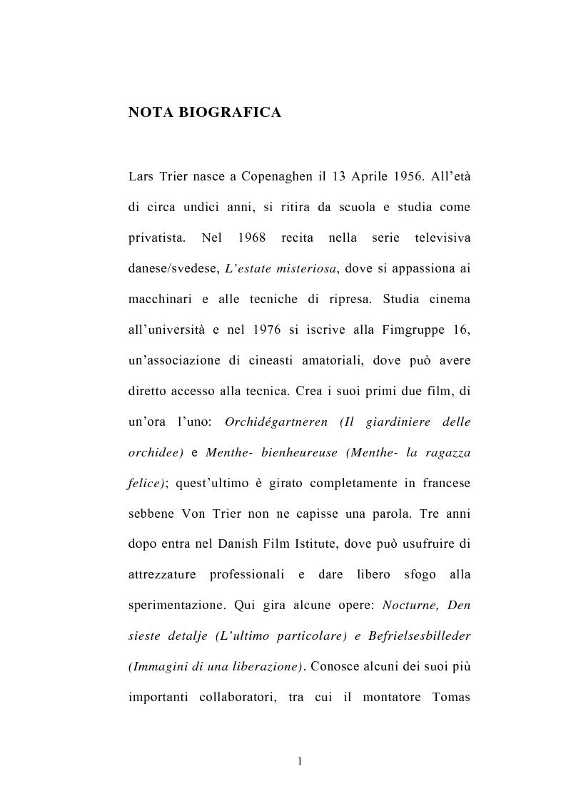 Anteprima della tesi: I germi della realtà: il cinema di Lars von Trier, Pagina 1