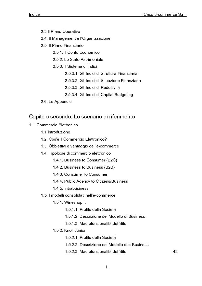 Indice della tesi: Business Plan di un'azienda di outsourcing di attività di vendita on-line. Il caso B-commerce, Pagina 2