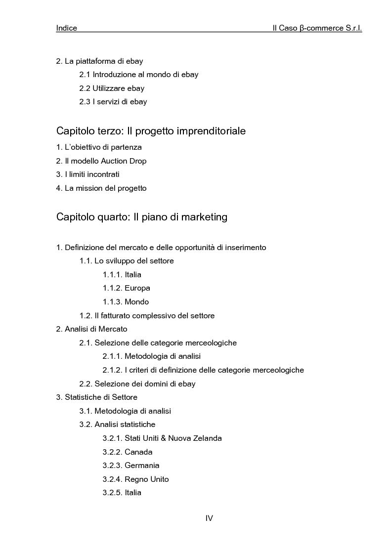 Indice della tesi: Business Plan di un'azienda di outsourcing di attività di vendita on-line. Il caso B-commerce, Pagina 3