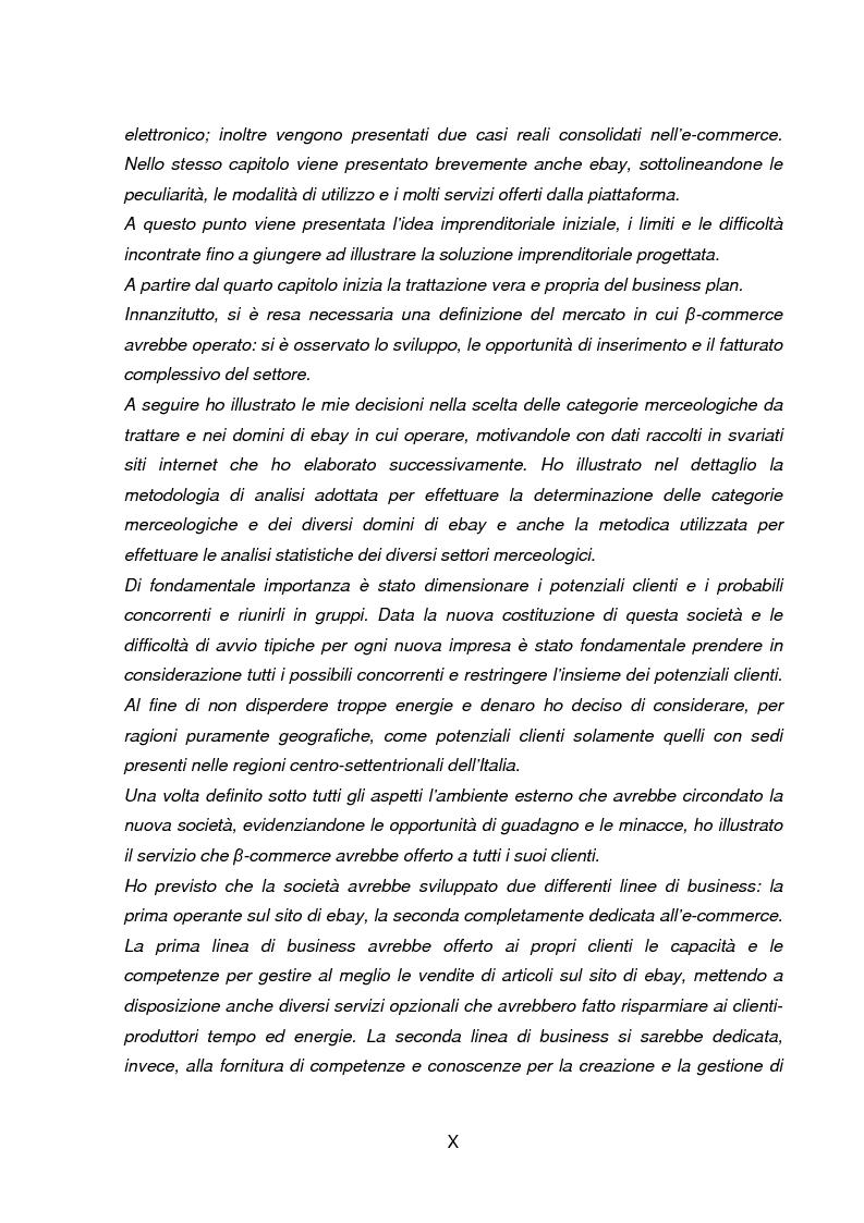 Anteprima della tesi: Business Plan di un'azienda di outsourcing di attività di vendita on-line. Il caso B-commerce, Pagina 3