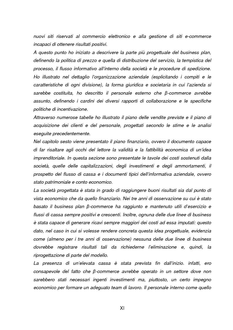 Anteprima della tesi: Business Plan di un'azienda di outsourcing di attività di vendita on-line. Il caso B-commerce, Pagina 4