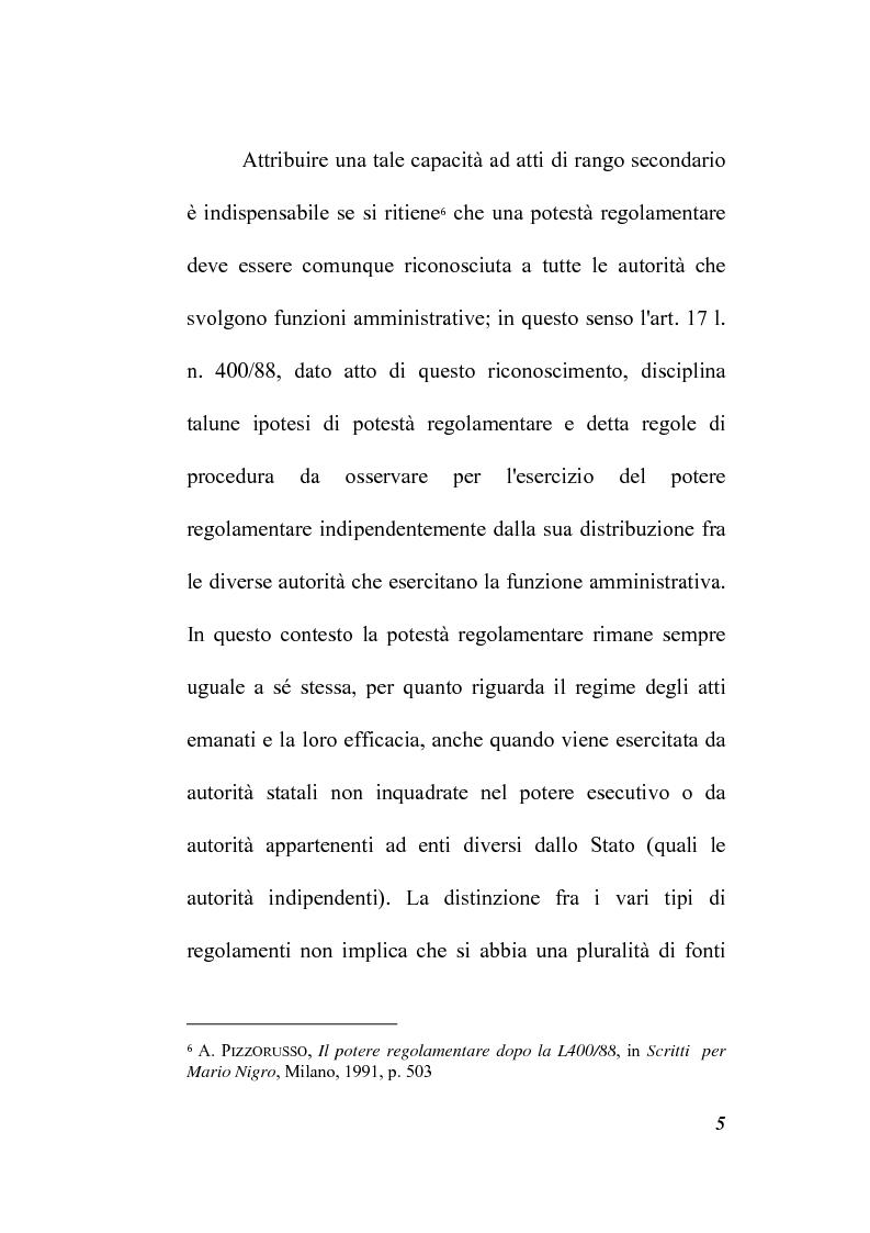 Anteprima della tesi: Il potere regolamentare delle autorità indipendenti, Pagina 5