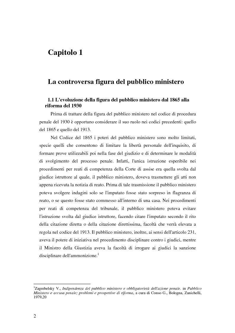 Anteprima della tesi: La posizione del pubblico ministero nell'ordinamento giuridico italiano. Profili costituzionali, Pagina 1