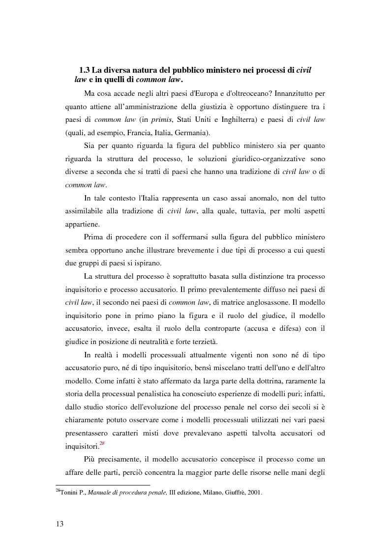 Anteprima della tesi: La posizione del pubblico ministero nell'ordinamento giuridico italiano. Profili costituzionali, Pagina 12