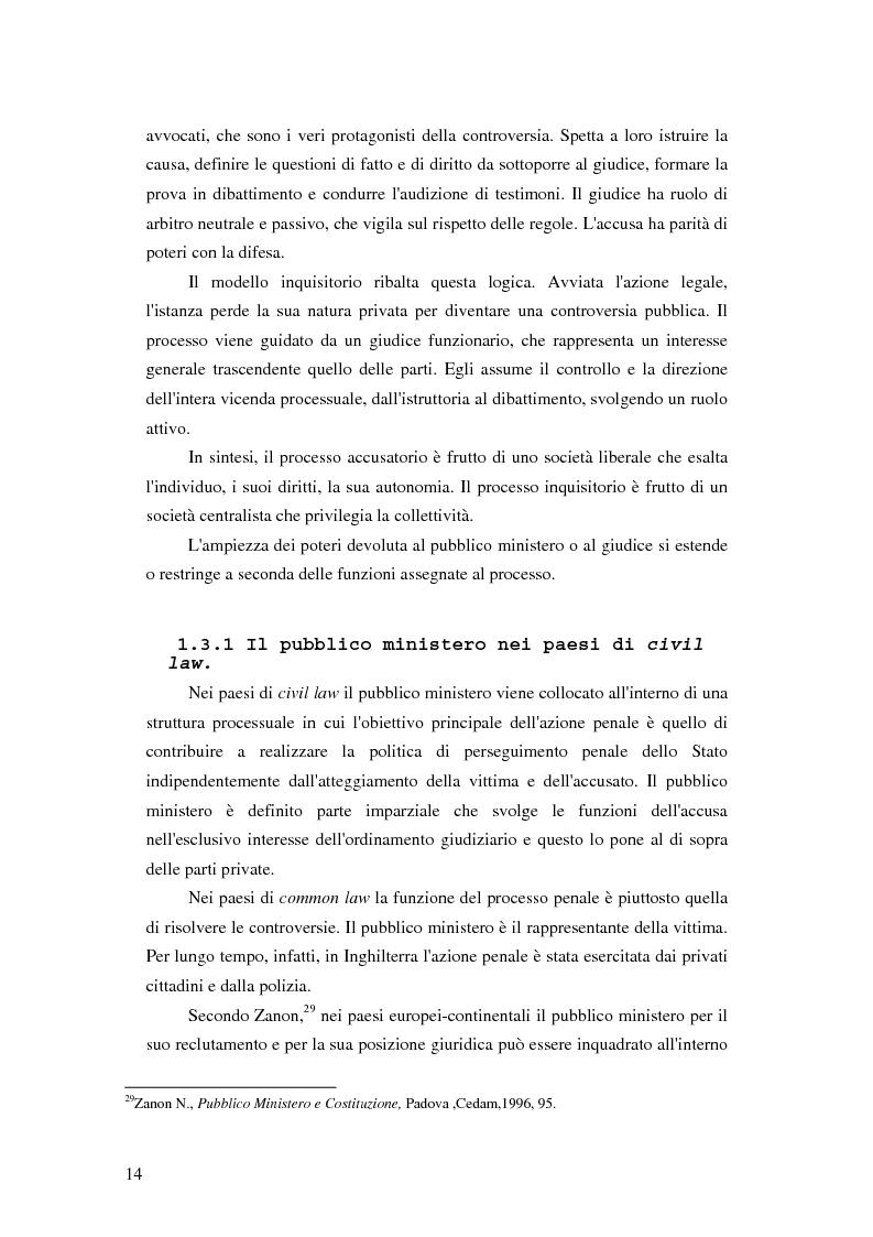 Anteprima della tesi: La posizione del pubblico ministero nell'ordinamento giuridico italiano. Profili costituzionali, Pagina 13