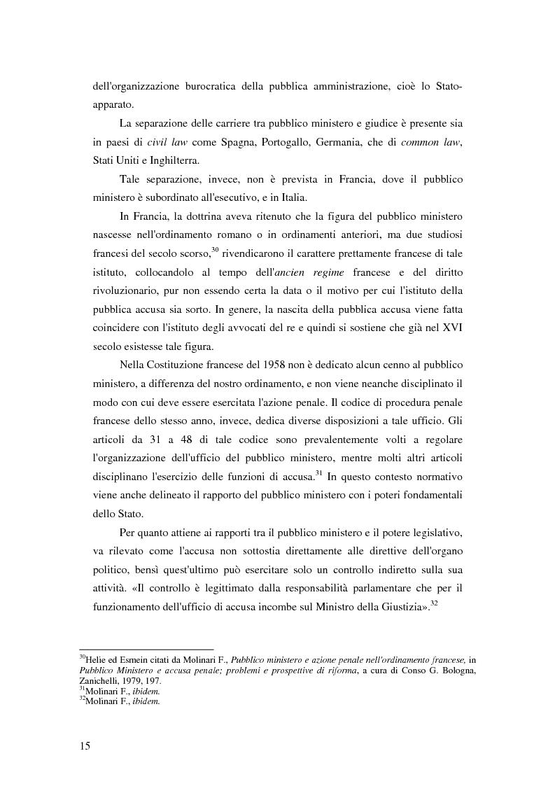Anteprima della tesi: La posizione del pubblico ministero nell'ordinamento giuridico italiano. Profili costituzionali, Pagina 14