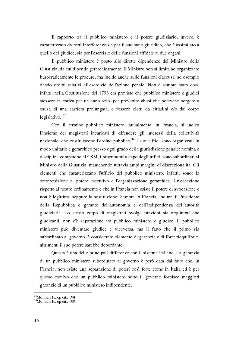 Anteprima della tesi: La posizione del pubblico ministero nell'ordinamento giuridico italiano. Profili costituzionali, Pagina 15