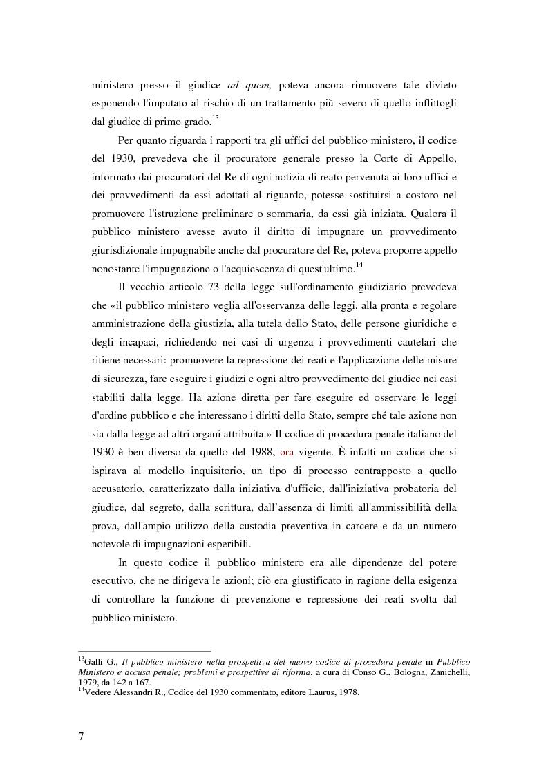 Anteprima della tesi: La posizione del pubblico ministero nell'ordinamento giuridico italiano. Profili costituzionali, Pagina 6
