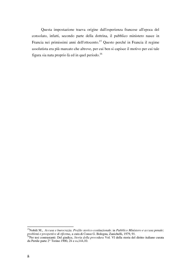 Anteprima della tesi: La posizione del pubblico ministero nell'ordinamento giuridico italiano. Profili costituzionali, Pagina 7