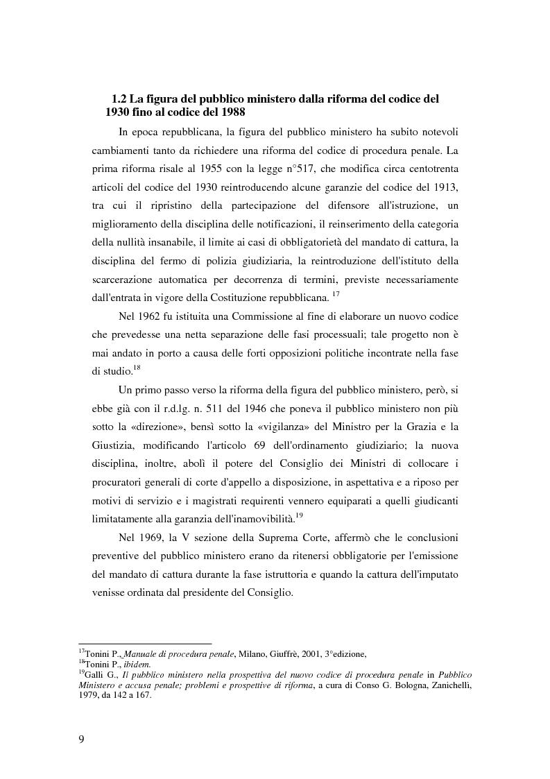 Anteprima della tesi: La posizione del pubblico ministero nell'ordinamento giuridico italiano. Profili costituzionali, Pagina 8
