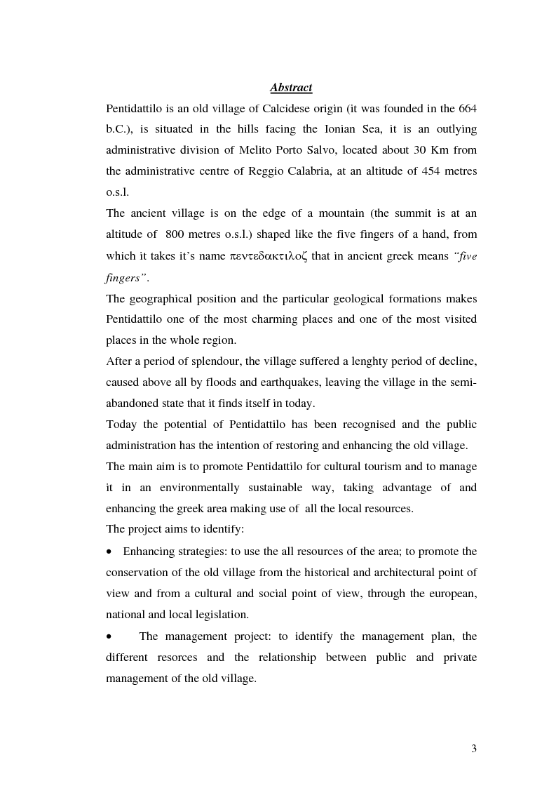 Anteprima della tesi: Progetto di valorizzazione di un centro storico: il caso Pentidattilo, Pagina 1