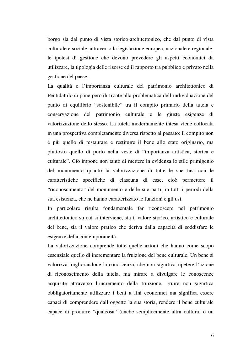 Anteprima della tesi: Progetto di valorizzazione di un centro storico: il caso Pentidattilo, Pagina 4