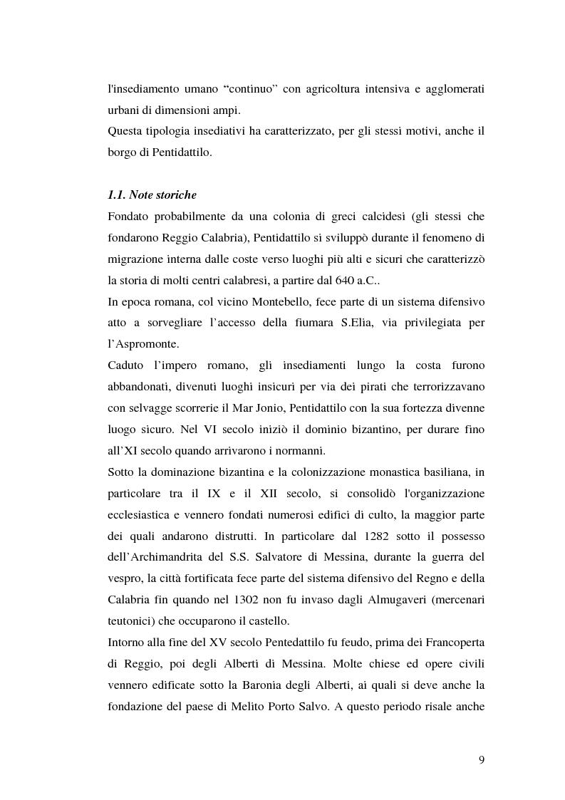 Anteprima della tesi: Progetto di valorizzazione di un centro storico: il caso Pentidattilo, Pagina 7