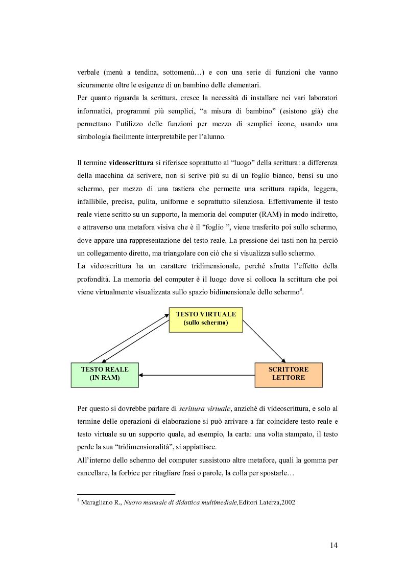 Anteprima della tesi: La videoscrittura: riflessione sulla lingua e produzione del testo., Pagina 10