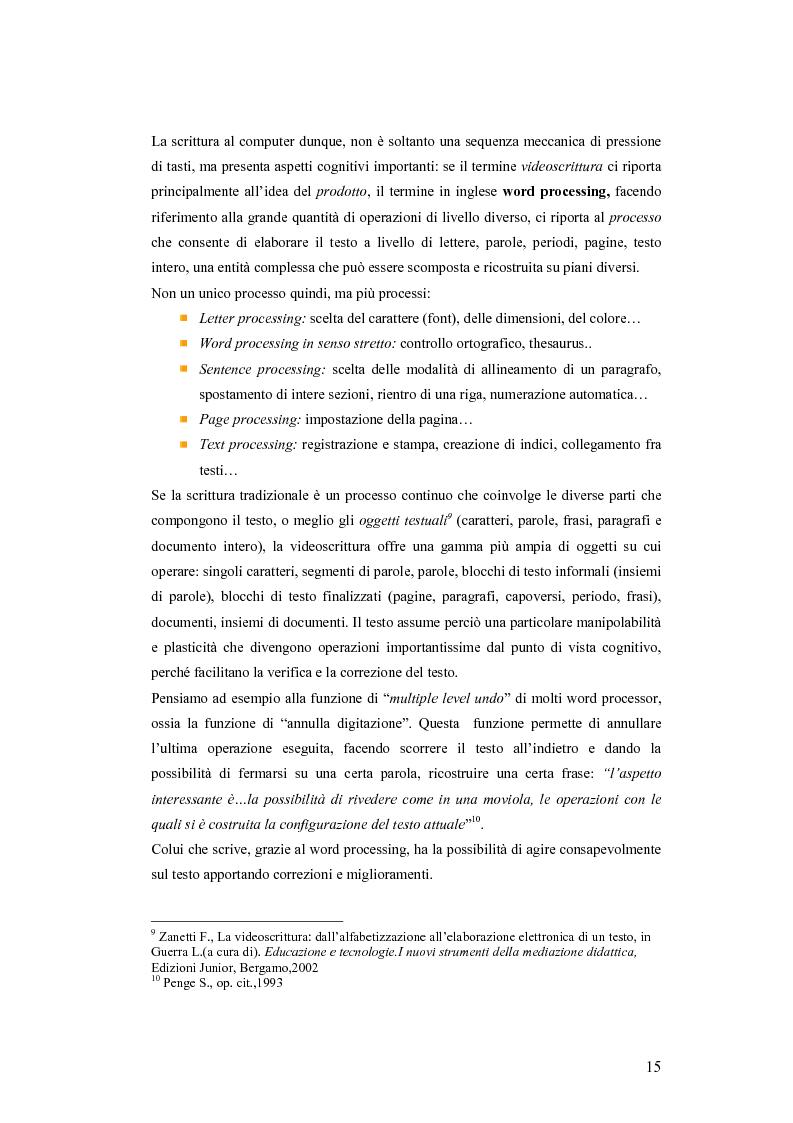 Anteprima della tesi: La videoscrittura: riflessione sulla lingua e produzione del testo., Pagina 11