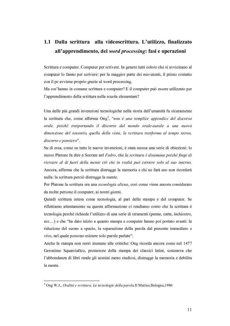 Anteprima della tesi: La videoscrittura: riflessione sulla lingua e produzione del testo., Pagina 7
