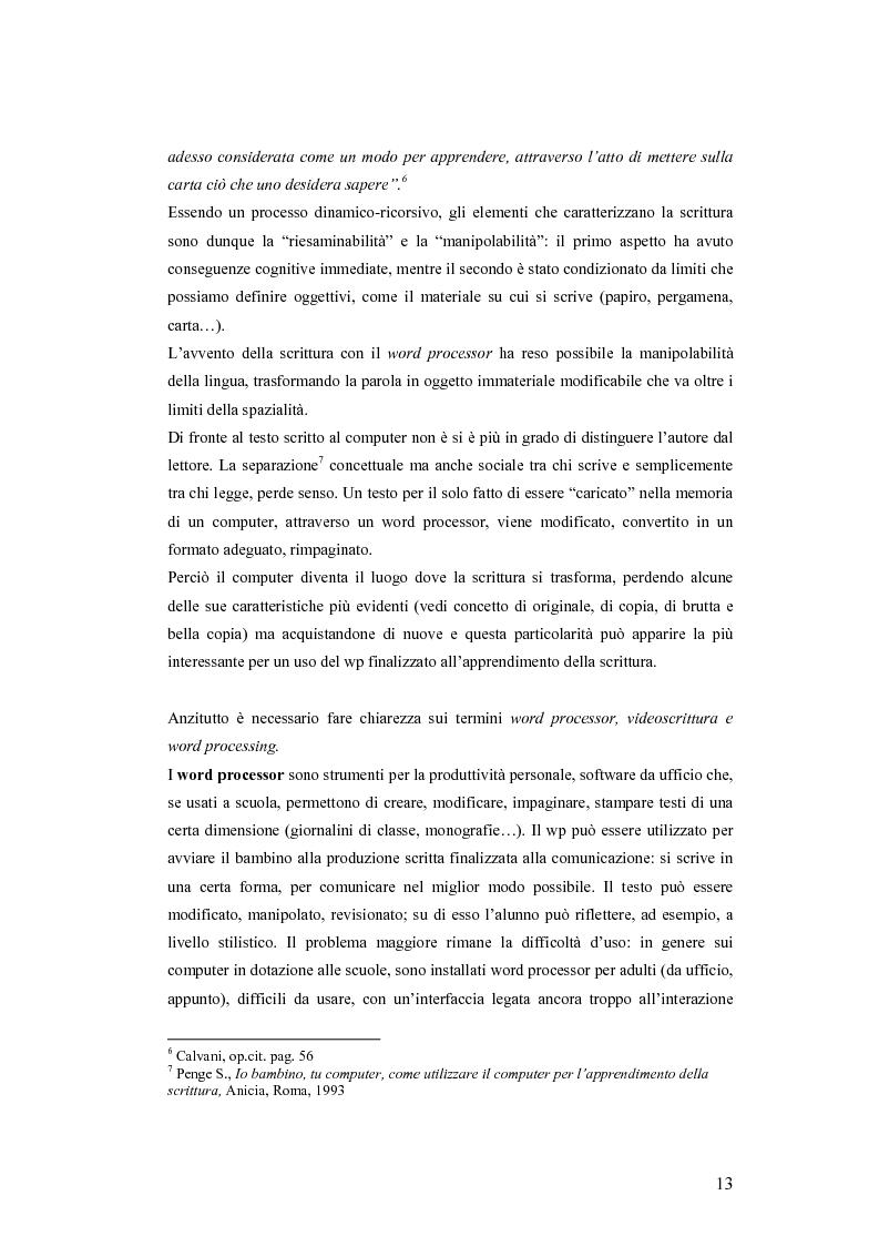 Anteprima della tesi: La videoscrittura: riflessione sulla lingua e produzione del testo., Pagina 9